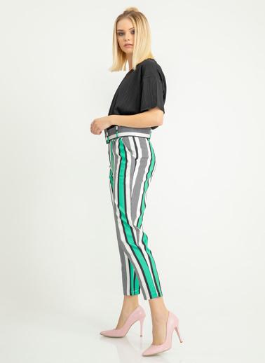 Foremia Atlas Empirme Çizgili Hazır Kemer Pantolon Yeşil